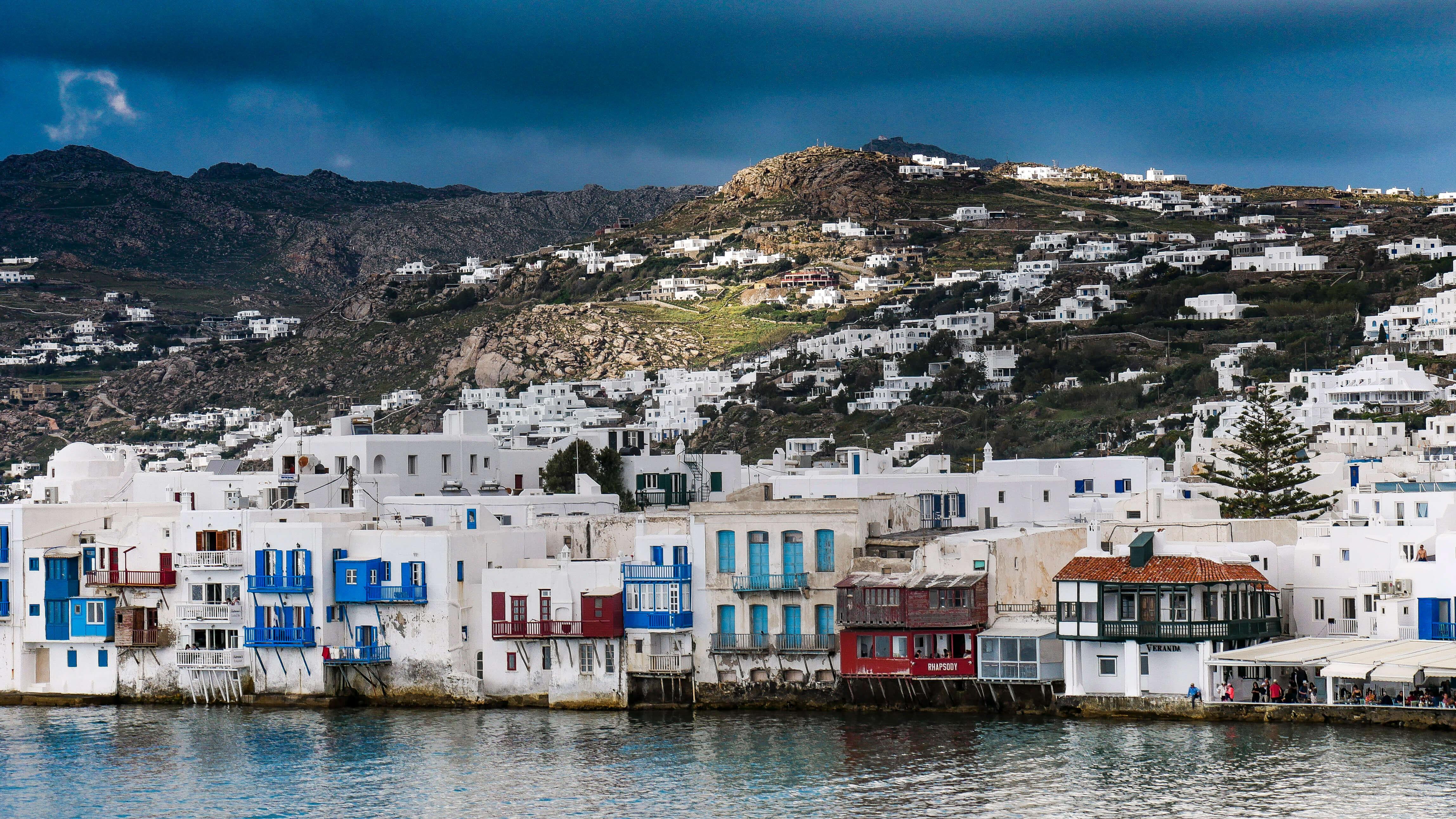 Les façades de Little de Venice à Chora, Mykonos, Grèce