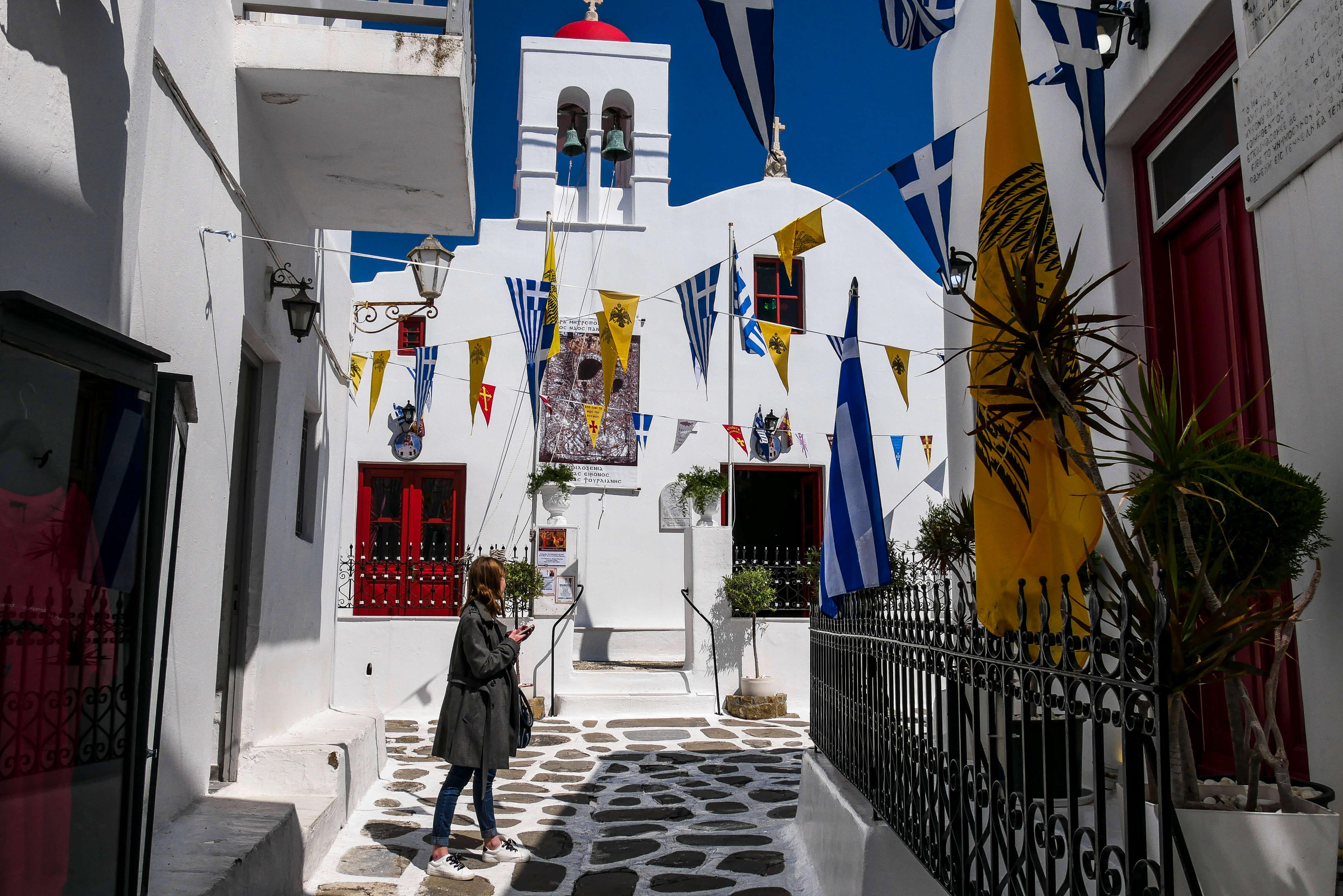 Les ruelles de Chora, Mykonos, Grèce